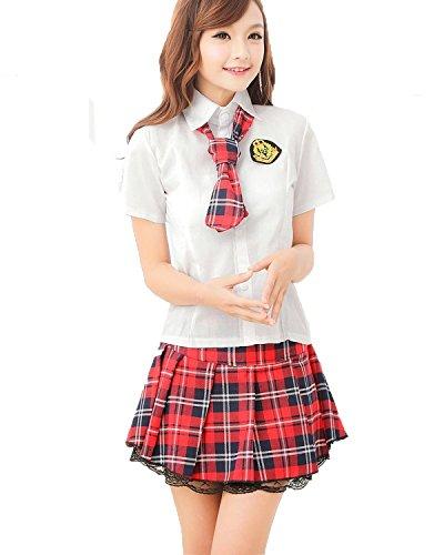 Sexy Klassische Japan Schuluniform-Kleid Uniform Kurzarm Anzug Hemd mit Pleated Skirt Cosplay Kostüm Mädchen School Lolita