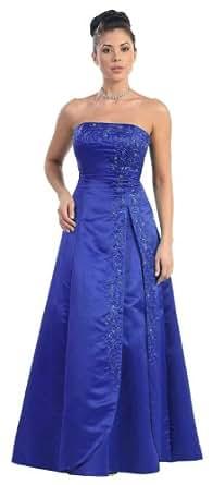 Bridesmaid Strapless Formal Dress #3708 (6, Royal Blue)