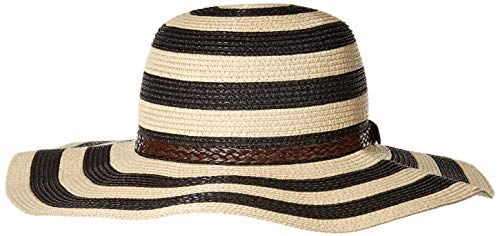 Sunlily womens Sunlily Roll-N-Go Sun Hat,Black and Tan Stripe, black/tan stripe, One Size