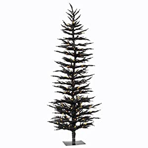 black halloween tree pre lit 5 black tree w100 orange led lights 60 x 24 - Black Halloween Tree