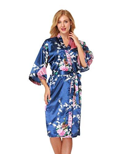 Ningmi Albornoces de Mujer Batas de Mujer Vestido de Kimono Satinado de Satén Vestido de Pavo Real y Flores de Dama de Honor: Amazon.es: Ropa y accesorios