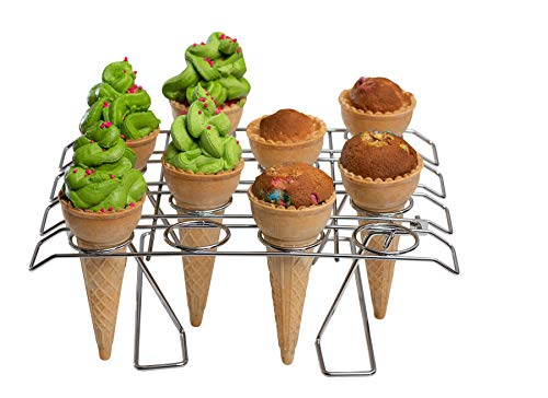 - Cupcake Cone Baking Rack - 16 Ice Cream Cone Holder, Cones Stand, Foldable Cake Decorating Pastry Tray, Stainless Steel