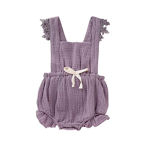 - Romper for Baby Girl Shusuen Jumpsuits Bodysuits Lace Flutter Sleeve One-Piece Outfits Clothes Purple
