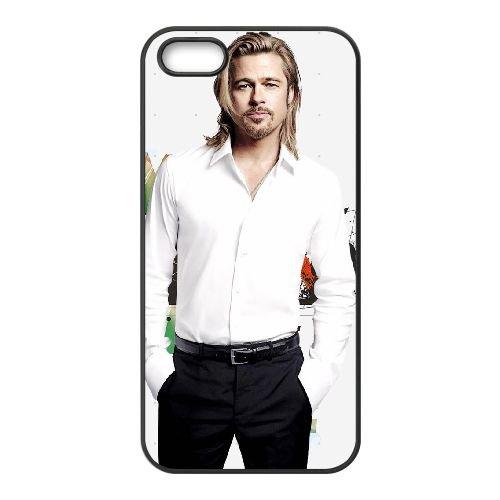 Brad Pitt 005 coque iPhone 5 5S cellulaire cas coque de téléphone cas téléphone cellulaire noir couvercle EOKXLLNCD22369
