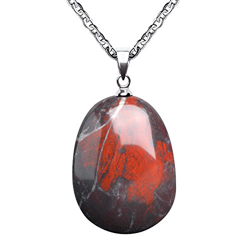 (iSTONE Natural Gemstone Blood Stone Water Drop Pendant Necklace with Stainless Steel Chain 20 Inch)