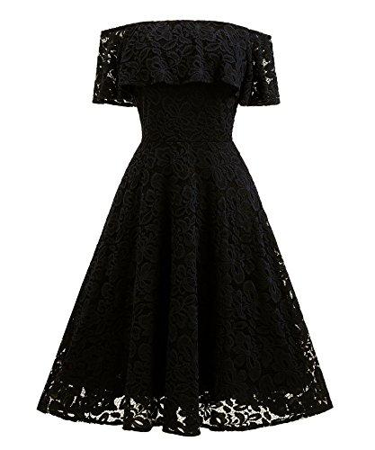 XIU*RONG Vestido De Encaje Con Un Hombro Vestidos De Péndulo Grande black