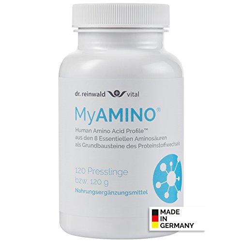 dr.reinwald MyAMINO – 8 essentielle Aminosäuren als Grundbaustein des Eiweiß-Stoffwechsels – Mit dem höchsten Proteinnährwert weltweit – 100% pflanzlich – 120 Presslinge
