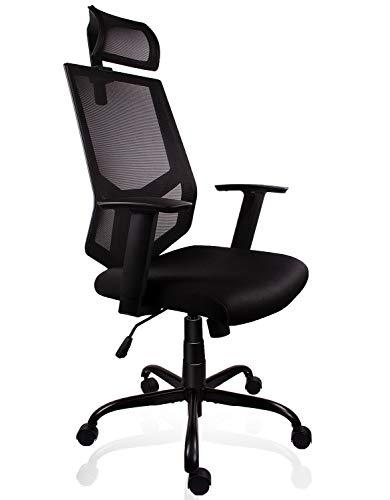 Smugdesk High Back Ergonomic Mesh Office Task Desk Chair with Adjustable Armrests and Headrest/Neck Support Dark Black