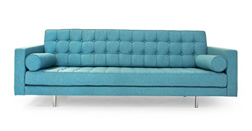 Kardiel Madison Mid-Century Modern Sofa, Dutch Blue Houndstooth Twill