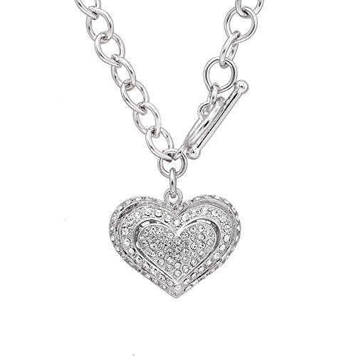 SpinningDaisy Silver Plated Crystal Breathing Heart Toggle Necklace