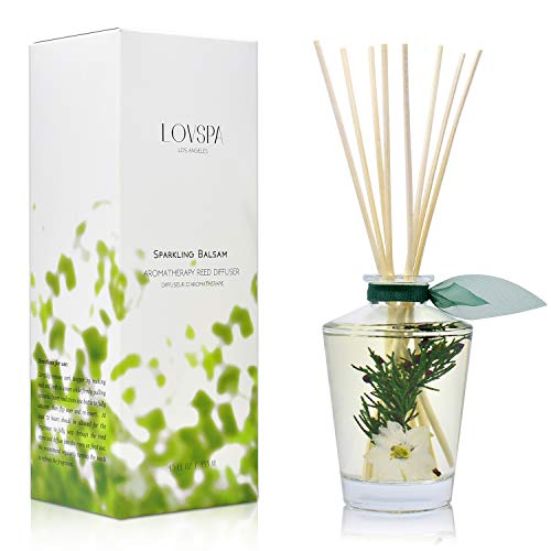 LOVSPA Sparkling Balsam Reed Diffuser Oil Set - Christmas Tree Scent with Pine, Fir Needles, Birch Wood and Amber - Natural Essential Oils and Real Botanicals - Beautiful Holiday Decor - 4.5 Ounces (Christmas Tree Scents)