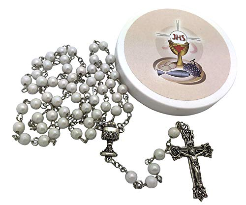 Westman Works Girls' First Holy Communion Rosary Set White Iridescent Bead Rosary in a Plastic Case