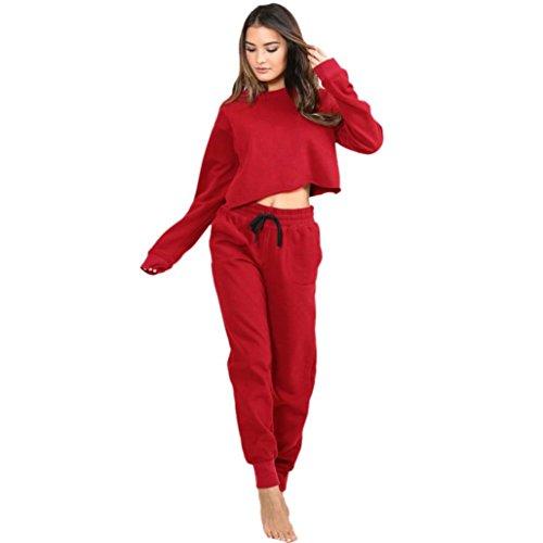 Casual Set Women Apparel Retail - PHOTNO Teen Girls Women Tracksuit Set Crewneck Lightweight Sweatshirt Crop Top Blouse Tops Sports Jogging Pants Sweatpants (Asian L, Red (Sweatpants))