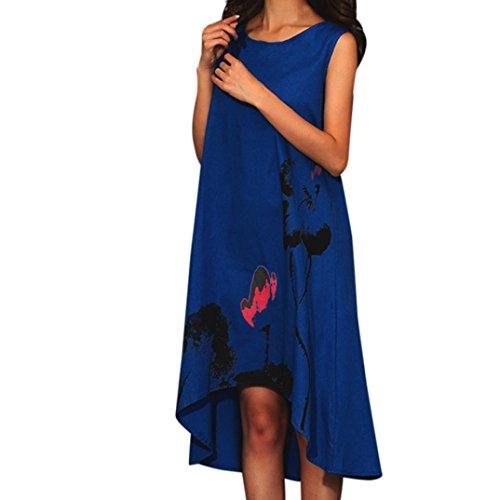 senza Abiti lunghi maniche formato inchiostro dalla grande Vovotrade estivi di donne stampa Blu Vestito Boho di delle rrxw4UvqT