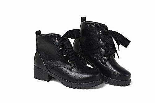 Carolbar Dames Lace Up Koud Weer Comfort Lage Hak Oxfords Laarzen Zwart