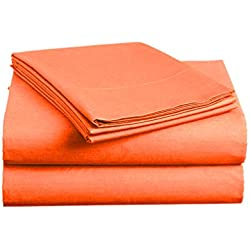 Luxe Bedding Sets - Microfiber Twin Sheet Set 3 Piece Bed Sheets, Deep Pocket Fitted Sheet, Flat Sheet, Pillow Case Twin Size - Bright Coral