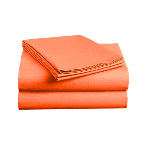 Luxe Bedding Sets - Microfiber King Size Sheets Set 4 Piece, Pillow Cases, Deep Pocket Fitted Sheet, Flat Sheet Set King - Bright Coral