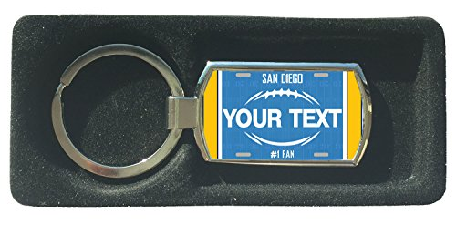 BleuReign(TM) Personalized Custom Name Football San Diego License Plate Metal Keychain (Diego Ring San Key Chargers)