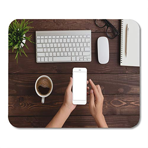 """Price comparison product image Nakamela Mouse Pads Table White Iphon Hand Use Phone Blank Screen Top View Mockup Smartphone Mouse mats 9.5"""" x 7.9"""" Mouse pad Suitable for Notebook Desktop Computers"""