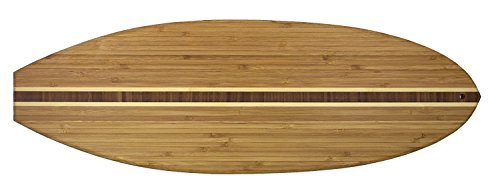 "Totally Bamboo Surfboard Shaped Serving + Cutting Board. ""Hang ten in the kitchen."" Premium Organic Bamboo! Great for..Gifts, Chopping & Food Prep. End grain inlay for added beauty; 23"