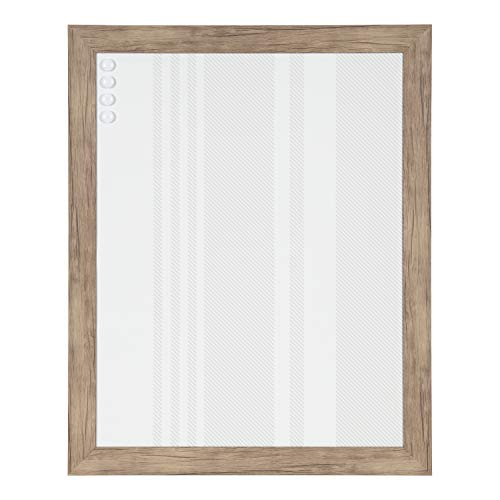 - DesignOvation Beatrice Framed Decorative Magnetic Bulletin Board with Stripe Design, 23x29, Natural Woodgrain Finish