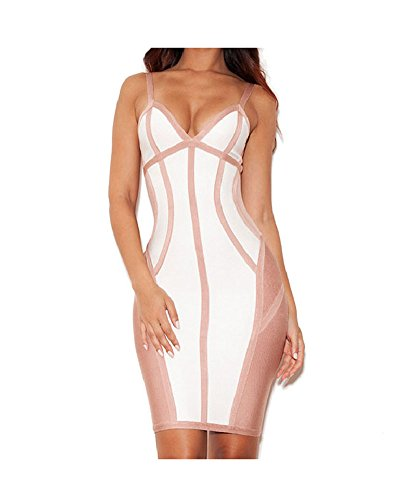 Whoinshop Womens Rayon Strappy Bodycon Bandage Evening Dress Pink S