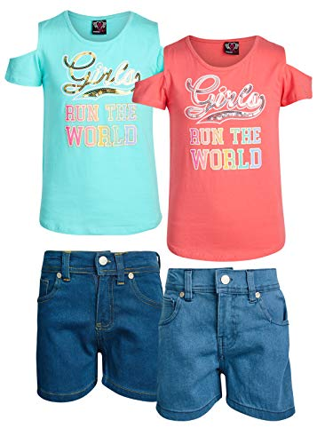 Real Love Girls 4-Piece Denim Short Set with Knit Top (2 Full Sets), Girls Run The World, Size 10/12' ()