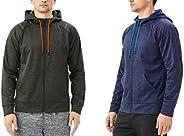 TEXFIT 2-Pack Men's Active Fleece Zip Up Hoodies with Front Pockets (2pcs