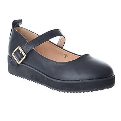 plus de photos 341f1 3a509 Miss Image UK Dames Femmes Filles Babies Chaussures Plateforme Buckle Ecole  Chaussures Plates Travail Taille