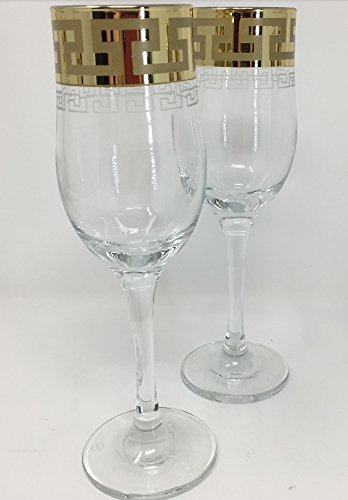 White Classic Vintage Wine (CRYSTAL GLASS CHAMPAGNE GLASSES 7oz./200ml. GOLD PLATED SET OF 6 FLUTES WHITE, RED, WINE GLASSES ENGRAVED VINTAGE GREEK DESIGN CLASSIC STEM GOBLETS)