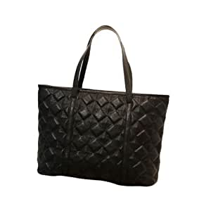 Exist Live Textured Leather Black Tote Simple Quilted Satchel Shoulder Handbag Purse Large Bag