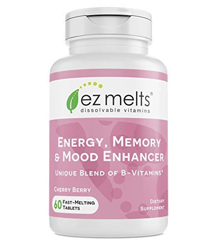 EZ Melts Energy Memory & Mood Enhancer, Methylated B-Complex, Sublingual Vitamins, Vegan, Zero Sugar, Natural Cherry Flavor, 60 Fast Dissolve Tablets
