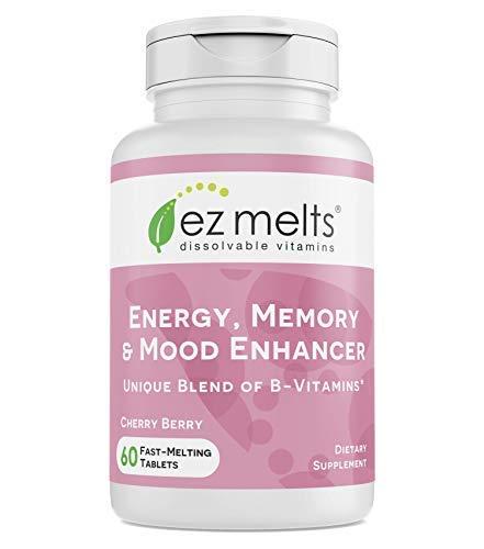 EZ Melts Energy Memory & Mood Enhancer, Methylated B-Complex, Sublingual Vitamins, Vegan, Zero Sugar, Natural Cherry Flavor, 60 Fast Dissolve Tablets