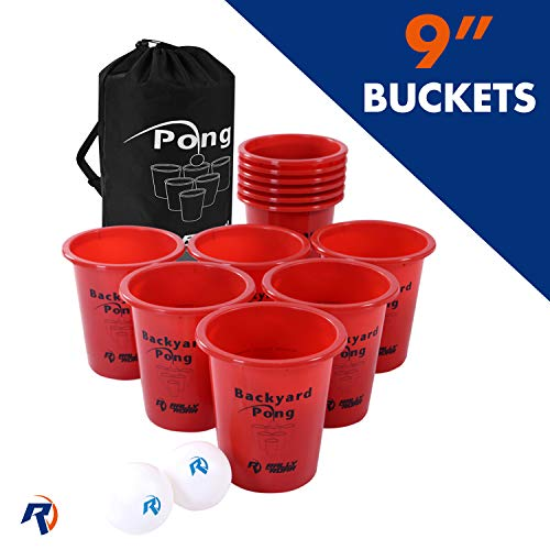 Jumbo Beer Pong Set for Outdoors - Fun Drinking Games for Adults, College Age - Jumbo Cup and Pong Throwing Game for Yard, Party, Bar, Lawn, Backyard, Tailgating - Fun Outside Games