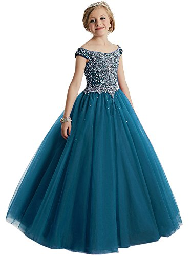 - HuaMei Girls Princess Tulle Beaded Straps Ball Gowns Flower Girl Pageant Dresses 8 US Teal