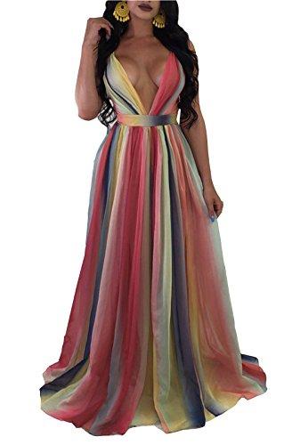 FEIYOUNG Women Sexy Bandage Corss Rainbow Color Chiffon Maxi Dress Club (Rainbow Shop Dresses)