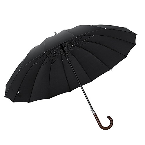 Plemo 55 Inch Stick Umbrella Windproof Oversize Auto Open with Classic Long Handle for Men Women (Black 16 Ribs)