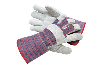 Radnor® Large Economy Grade Split Leather Palm Gloves With Gauntlet Cuff, Striped Canvas Back And Reinforced Knuckle Strap, Pull Tab, Index Finger And Fingertips
