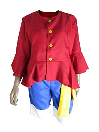 E-Mell Unisex One Piece Cosplay Monkey D Luffy 2nd two years later Suit Costume XXL Red & Blue
