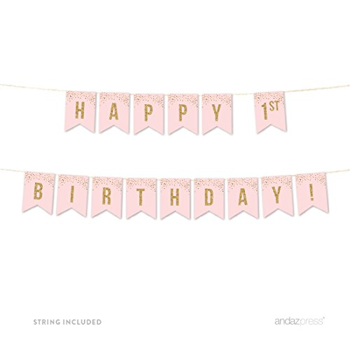 Andaz Press Blush Pink Gold Glitter Girl's 1st Birthday Party Collection, Hanging Pennant Party Banner with String, Happy 1st Birthday!, 5-Feet, 1 Set ()