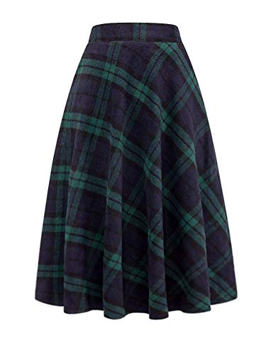 IDEALSANXUN Wool Skirts for Womens High Waist Aline Pleated Midi Skirts