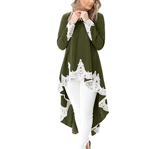Ulanda Lace Dresses, Women's Long Sleeves Casual Crewneck Irregular Hem Pullover Elegant Floral Lace Dress (XL, Green) ()