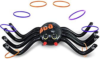 MeiGuiSha Halloween 50 Inch Huge Inflatable Spider Ring Toss Game with 8 Ring Toss…