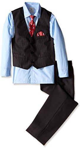 Perry Ellis Big Boys' Fine Pindot Vest Set, Love You Blue, 10 by Perry Ellis