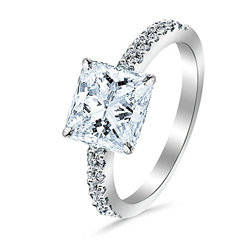 0.55 Cttw 14K White Gold Princess Cut Classic Side Stone Pave Set Diamond Engagement Ring with a 0.25 Carat J-K Color SI2-I1 Clarity (0.25 Ct Diamond Set)