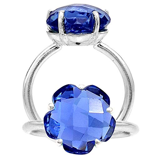 NYSS INS. Tanzanite Lab Created 12x12 MM Flower Shape 925 Sterling Silver Ring Size 7-9 by NYSS INS.