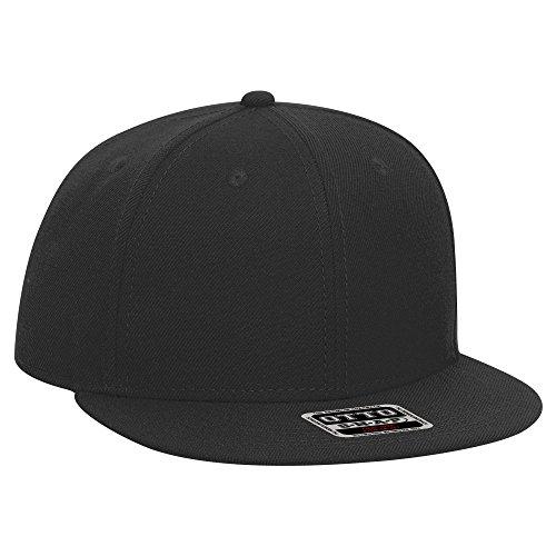 (OTTO Wool Blend Twill Round Flat Visor SNAP Youth 6 Panel Snapback Hat - Black)
