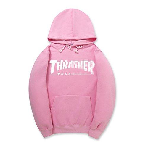 MNSA Men's Hoodies Streetwear Skateboard Hip hop Hoody Thrasher Sweatshirt PinkL