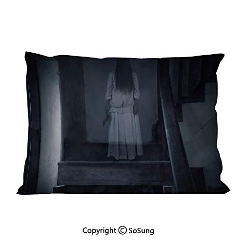 Halloween Bed Pillow Case/Shams Set of 2,Horror Scenery Ghost Girl Figure on Stairway Holding Axe Murder Violent Nightmare Decorative Queen Size Without Insert (2 Pack Pillowcase 30