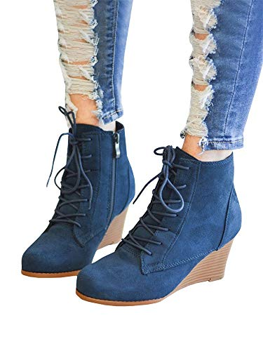 Combat Side Skirts - Women's Lace-Up Stacked Wedge Booties Comfort High Top Ankle Combat Boots with Zipper